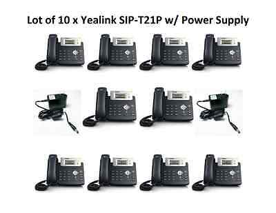 Lot of 10 x Yealink SIP-T21P E2: 2 Line VoIP PoE-WITH POWER SUPPLY-OPEN BOX