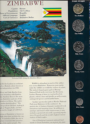 Coins from Around the World Zimbabwe All 1997 BU UNC $2, $1, 50, 20 cents1997