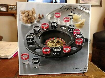 Roulette Game Crystal Clear Game Night Roulette Wheel and Shot Glasses NIOB
