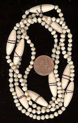 Strand Vintage Glass Beads Cream Beige Brown Wiith Spacers #244B