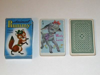 Vintage 1940s-1950s Whitman ANIMAL RUMMY Card Game 3012 Complete in Original Box