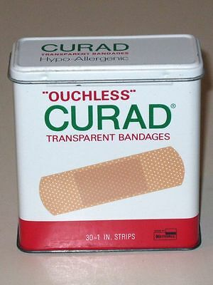 Vintage CURAD Ouchless Hypo-Allergenic BANDAGES Advertising Tin! KENDALL Co.