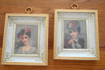 2 Vtg Metal-White French Provincial Florentine Cottage Shabby Women Pictures