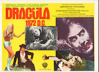 DRACULA AD 1972  Mexican Lobby Card Movie Poster  CHRISTOPHER LEE PETER CUSHING