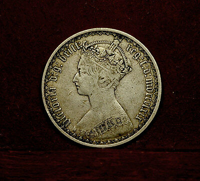 Great Britain, VICTORIA SILVER GOTHIC FLORIN/ TWO SHILLINGS dated mdccclxix,1859