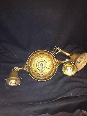 "1930's 12 3/4"" Brass Hanging 2 Bulb Light Fixture"