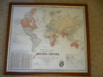 Limited Edition Howard Vincent Map of the British Empire 1924 Framed & Glazed