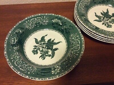 Spode Camilla Green Bowls x 5 Vintage Large 9 Inch Soup Superb Condition