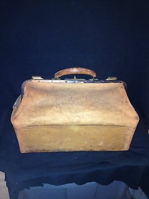 "1940's 17"" Leather Doctors Medical Bag"