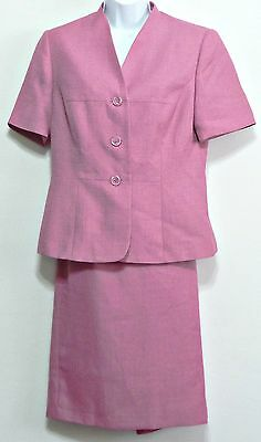 Le Suit Ladies Peony Pink Textured Polyester Lined Petites Suit - Size 6P