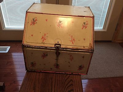VINTAGE 1930s COLLECTIBLE METAL BREAD BOX PIE CAKE SAFE with hand painted flower