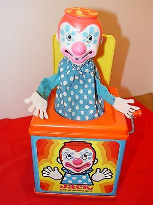"Vintage Mattel Jack in The Music Box Toy Clown 1971 ""Pop goes the Weasel"" song"