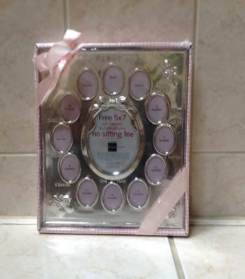 Girls JCPenney My First Year Photo Frame Pink New Baby 12 Months Silver