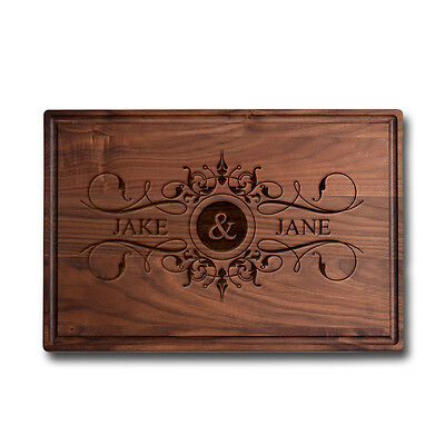 Made in USA Walnut Cutting Board Personalized Engraved -  Bride & Groom