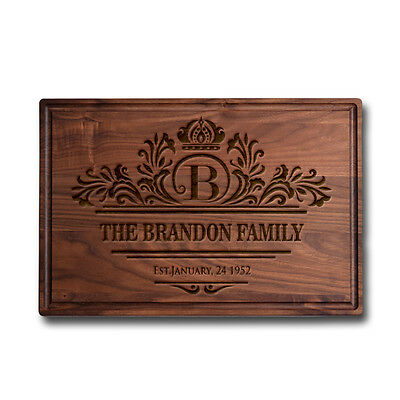 Made in USA Walnut Cutting Board Personalized Engraved -  Last name Initial