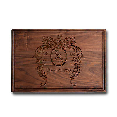 Made in USA Walnut Cutting Board Personalized Engraved -  Monogram Initial