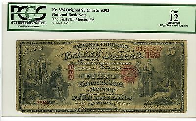 $5 First National Bank Mercer PA  #392 PCGS F12