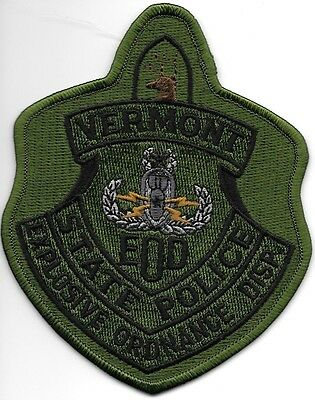 "*NEW*  Vermont State Police - E.O.D. (4"" x 5"") shoulder police patch (fire)"