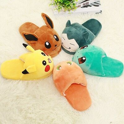 Adult Slipper Babouche Cosplay Pikachu Eevee Snorlax Soft Plush Slippers Shoes