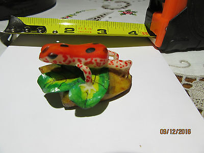 Frog Art Figurine Tagua Nut Carved And Painted. Artist Signed