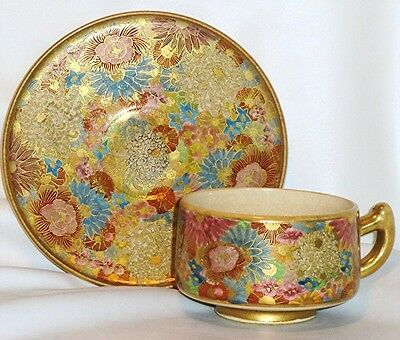 Japanese Satsuma Mille Fleur Cup and Saucer