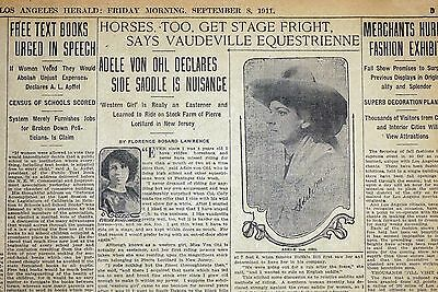 1911 Newspaper Page - Buffalo Bill Gal Wild West Performer Adele Von Ohl Parker