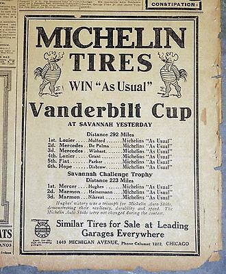 "1911 Newspaper Ad - Michelin Tires ""Win As Usual"" Vanderbilt Cup"