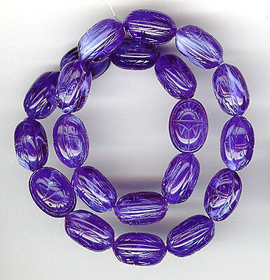 15 Vintage Lucite Beads Royal Blue Scarab Beetles 18mm #166