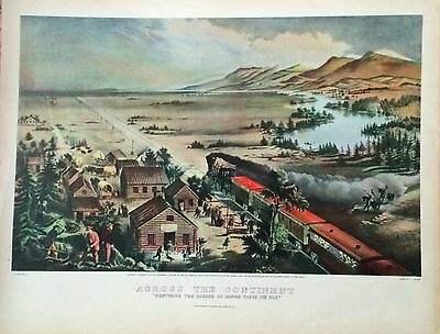 """Antique Railroad History Litho """"westward Course Of Empire Takes The Way"""""""