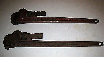 "Pair of Vintage Rigid Heavy Duty  24"" Pipe Wrenches Wrench"