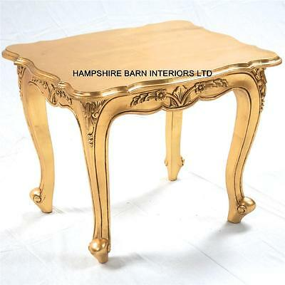 French Chateau Style Louis Ornate Side Lamp Table Gold Leaf Small Coffee Carved