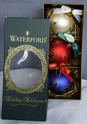 """RARE! SET OF 3 Seahorse 4"""" Balls Ornaments Waterford Holiday Heirlooms, NEW"""