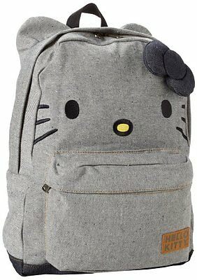 NWT Loungefly Blue-Grey Denim Backpack with Ears & Plush 3D Bow