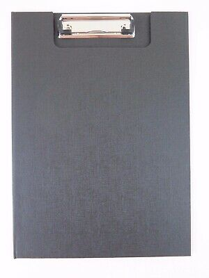 1 x BLACK A4 Clip Folder w/ Clear Insert Pocket Wire Clip Clipfolder 18210