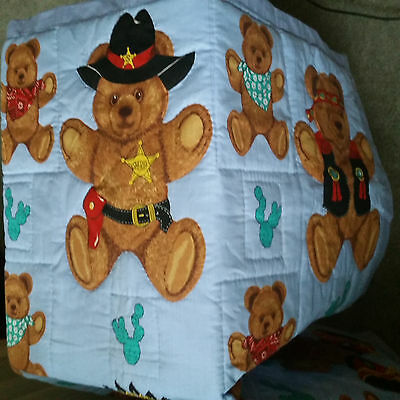 Hand Quilted Teddy Bear Quilt or Wall Hanging 36 x 44
