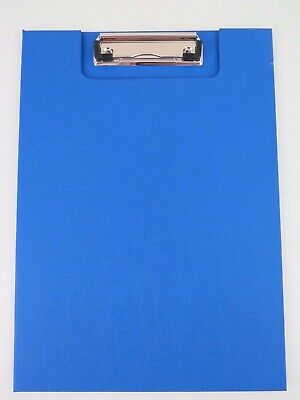 1 x BLUE A4 Clip Folder w/ Clear Insert Pocket Wire Clip Clipfolder 18220