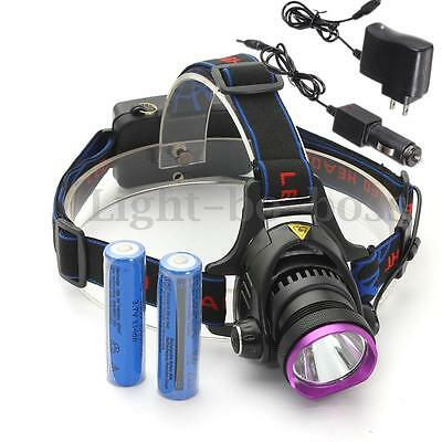 10000LM T6 LED Rechargeable HeadLamp Headlight Torch Rechargeable Lamp +2Charger