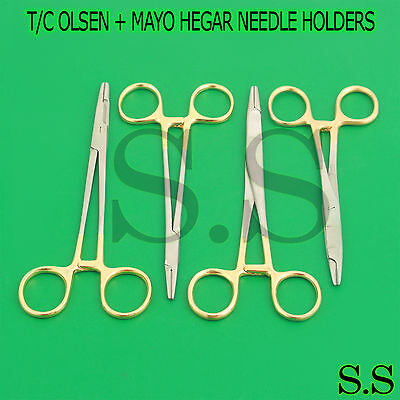 4 T/c Olsen + Mayo Hegar Needle Holders Surgical Instruments Tungsten Carbide