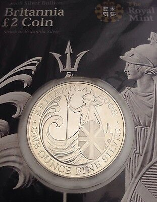 2008 Britannia £2 Two Pound 958 1oz Silver bullion coin In Presentation Card