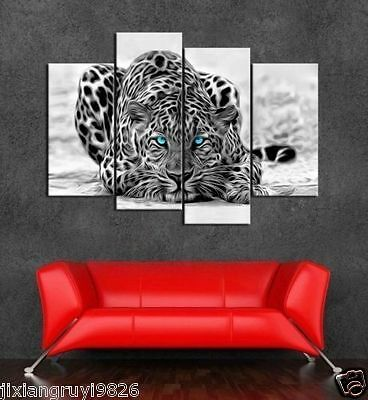 Canvas handmade home decor wall art painting (No framed) Blue eyes leopard 4pc