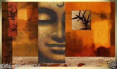 "ASIAN ART STYLE HUGE MODERN ABSTRACT ART OIL PAINTING ""Buddha"" 24X48"". NO frame"
