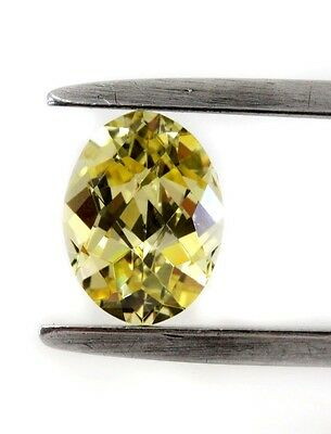 "Lab - Created Oval Checkerboard "" CZ ""  Faceted Stone 8X6mm Yellow"