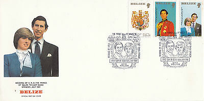 BELIZE 16 July 1981 ROYAL WEDDING SET OF ALL 3 SMALL FORMAT FIRST DAY COVER SHS