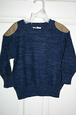 NWT Old Navy Size 5T Toddler Boy Blue Marled Crewneck Winter Sweater Patch