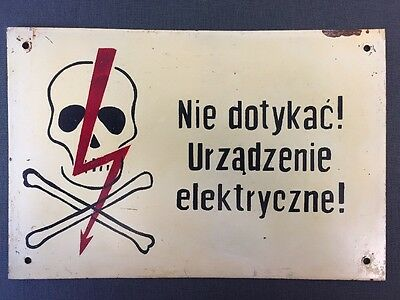 Vintage 'High Voltage' Metal Sign Made In Poland Industrial Warning Plaque