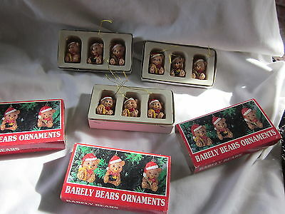9 pc BARELY BEAR ORNAMENT Christmas Tree ornament 1 1/2""