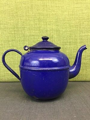 Small Vintage Enamel Kettle Made In Poland Blue Metal Teapot
