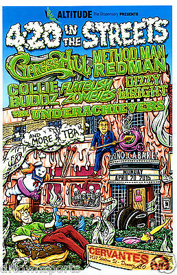 4:20 In The Streets Cypress Hill, Method Man, Flatbush Zombies Denver Gig Poster