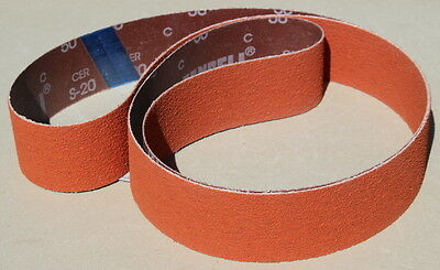 "2"" x 72"" Orange Ceramic S20 P60 Grit  Sanding Belts - 3 Belts"