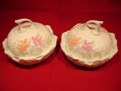 Pair of Staffordshire Bone China Lidded Trinket Dishes Elizabethan Angelique